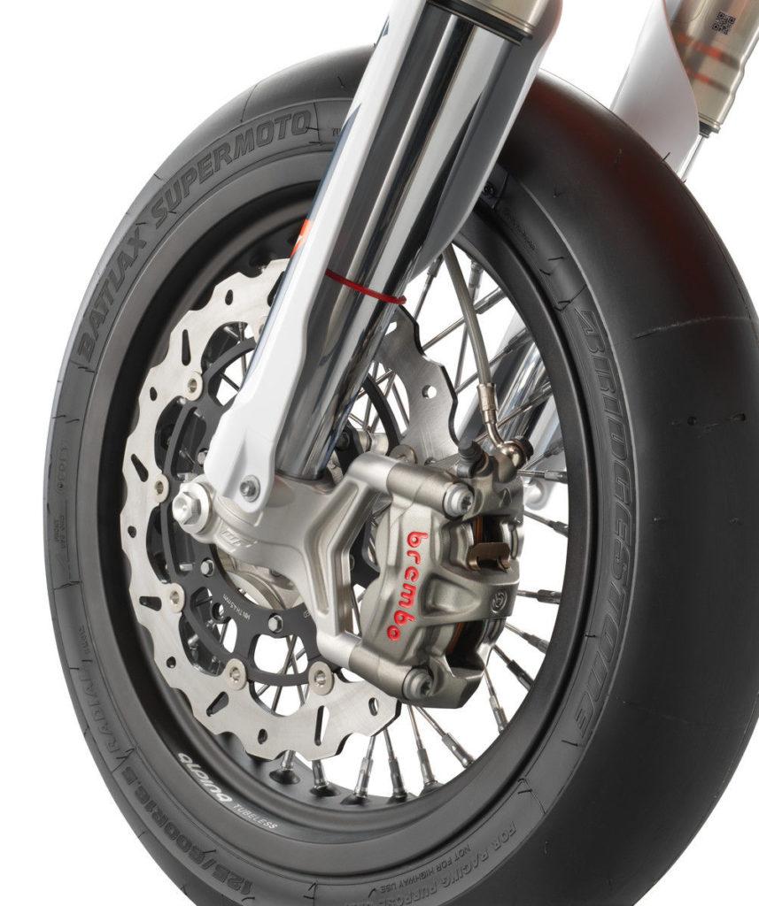 The 2022-model KTM 450 SMR comes with WP suspension, Brembo braking hardware, and Bridgestone slicks. Photo courtesy KTM North America.