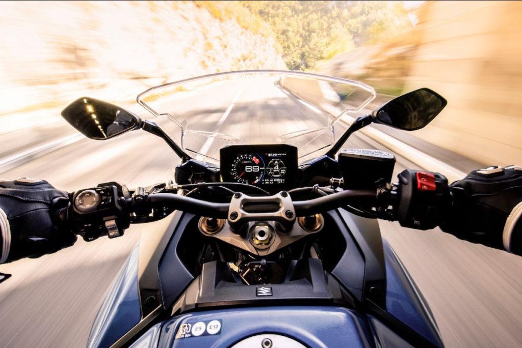 The view from the cockpit of a 2022 Suzuki GSX-S1000GT. Photo courtesy Suzuki Motor USA, LLC.
