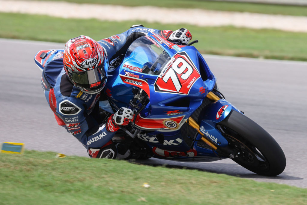 Wyatt Farris (79) raced hard on his GSX-R1000R earning a top ten overall finish in the Stock 1000 class. Photo by Brian J. Nelson, courtesy Suzuki Motor USA, LLC.
