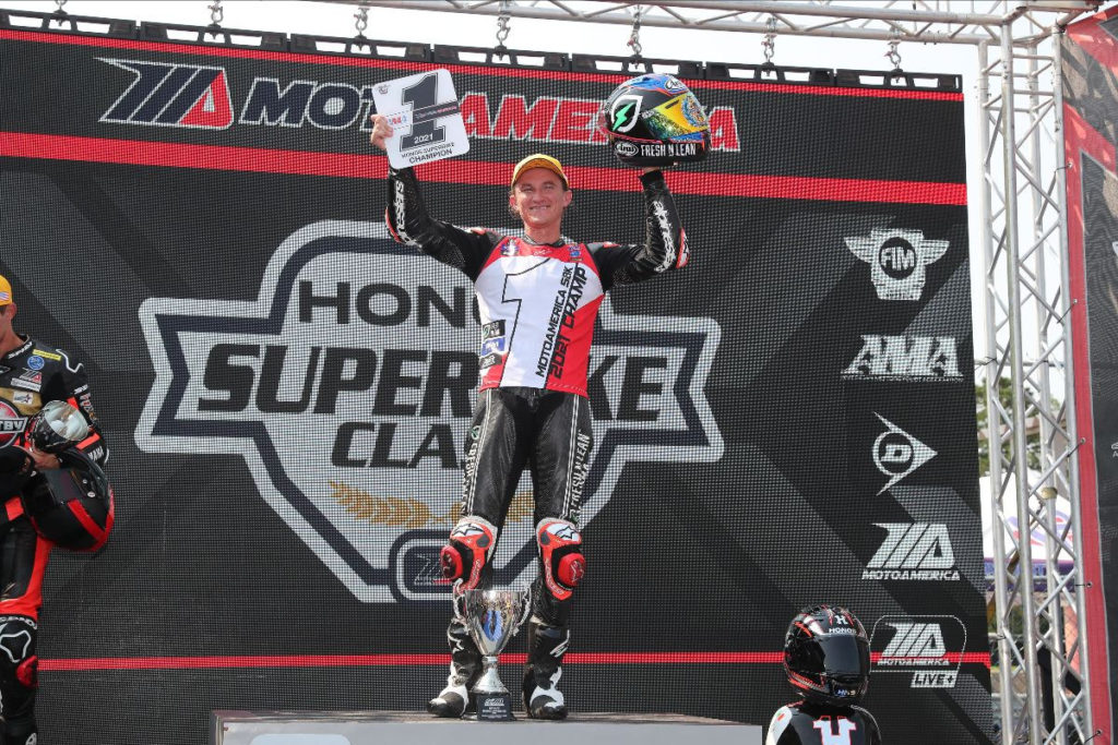 Jake Gagne, the 2021 MotoAmerica HONOS Superbike Champion. Photo by Brian J. Nelson, courtesy MotoAmerica.