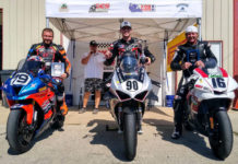 Zach Schumacher (center) won the ASRA Superstock race over runner-up Tony Storniolo (left) and third-place finisher Tom Girard (right). Photo courtesy ASRA.