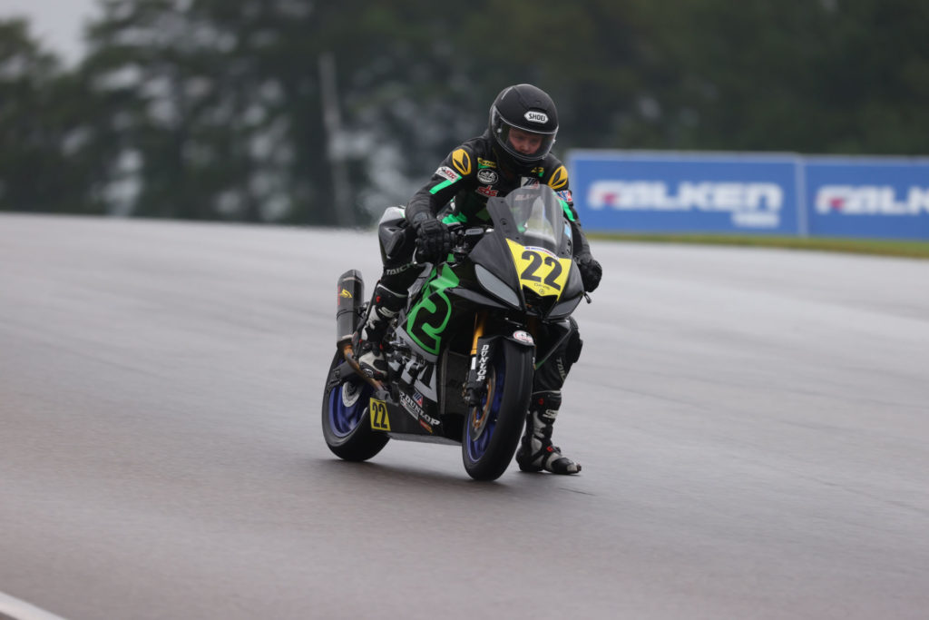 Blake Davis (22) in action in the rain at Barber Motorsports Park. Photo by Brian J. Nelson, courtesy N2 Racing.