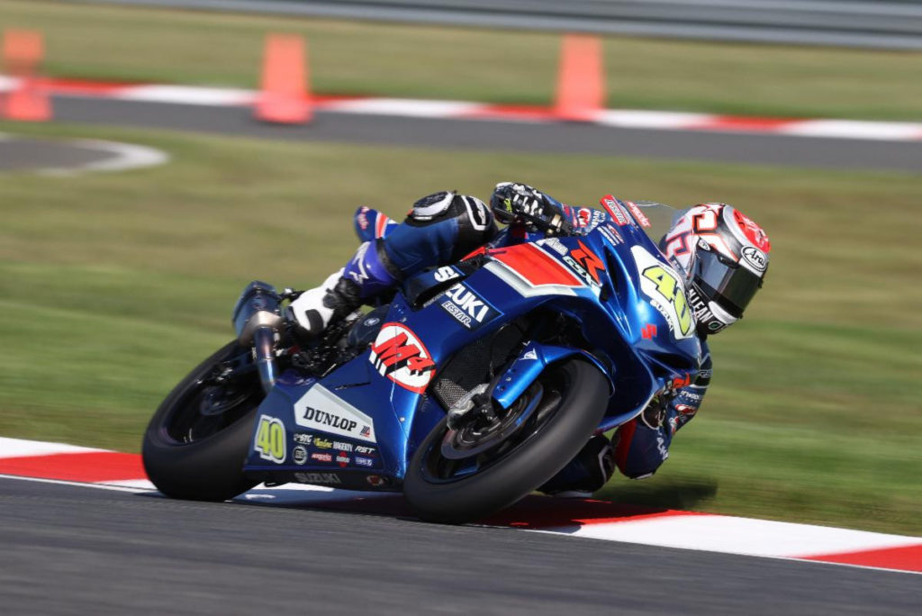 Sean Dylan Kelly (40) won MotoAmerica Supersport Race 1 at New Jersey Motorsports Park. Photo By Brian J Nelson, courtesy Team Hammer.