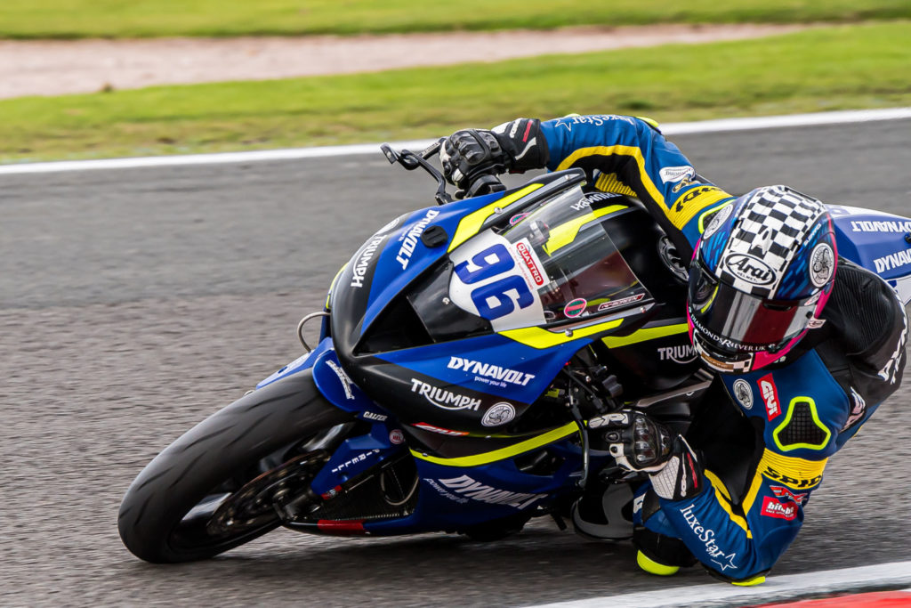 American Brandon Paasch (96) in action at Oulton Park. Photo by Barry Clay.