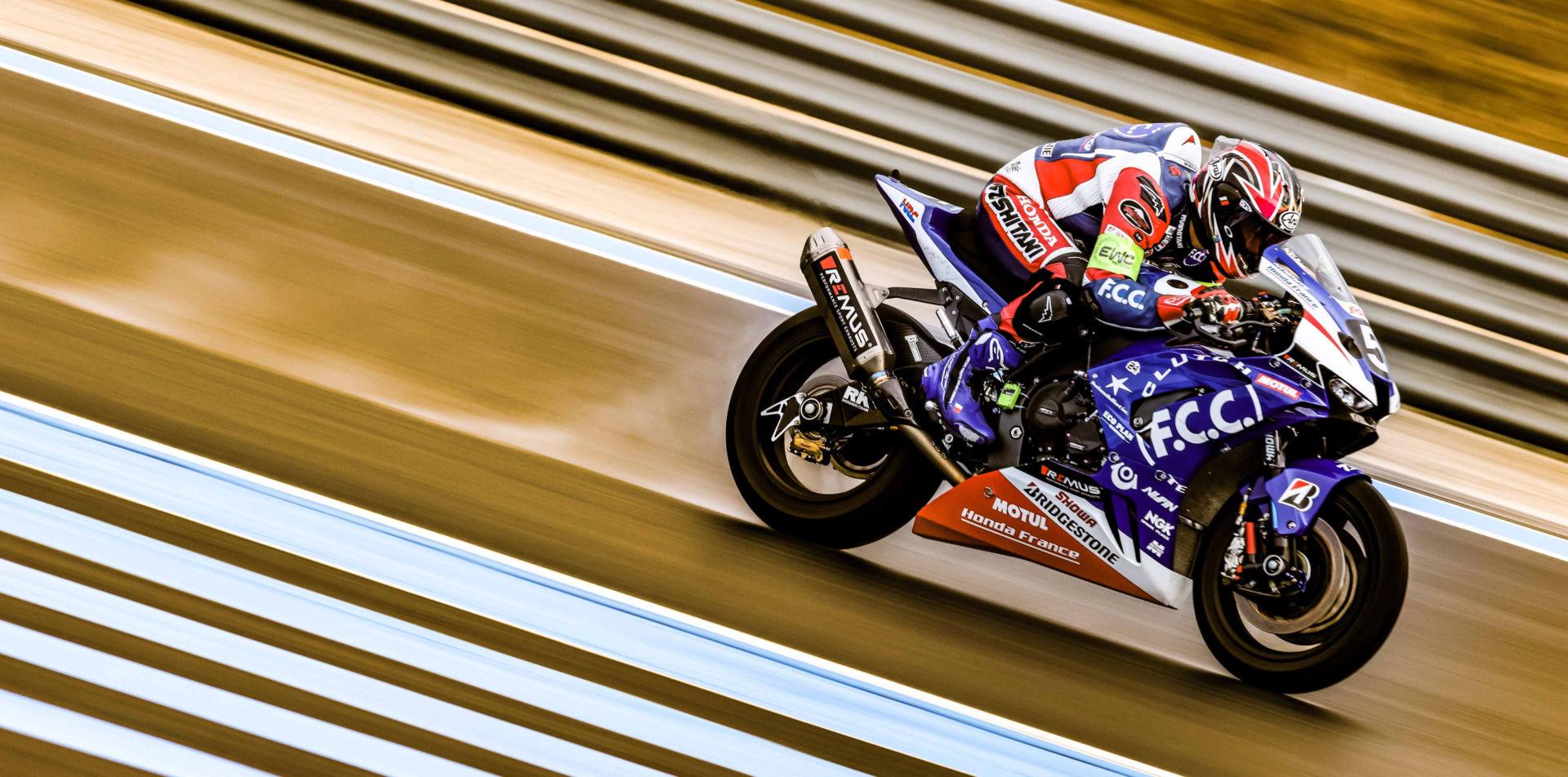 F.C.C. TSR Honda France (5) in action Thursday morning in France. Photo courtesy Eurosport Events.