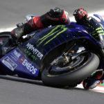 Fabio Quartararo (20) at speed at Misano. Photo courtesy Monster Energy Yamaha.