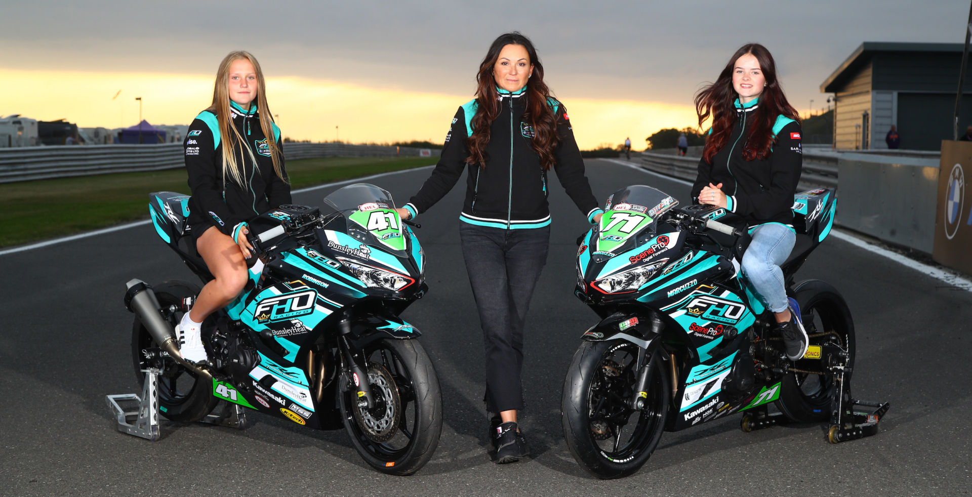 FHO Racing Team Owner Faye Ho (center) with Scarlett Robinson (left) and Charlotte Marcuzzo (right). Photo courtesy FHO Racing.