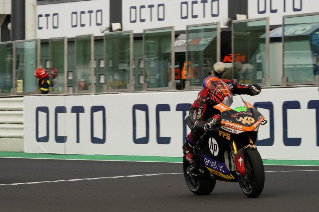 Jordi Torres (40) won MotoE Race One at Misano. Photo courtesy Dorna.