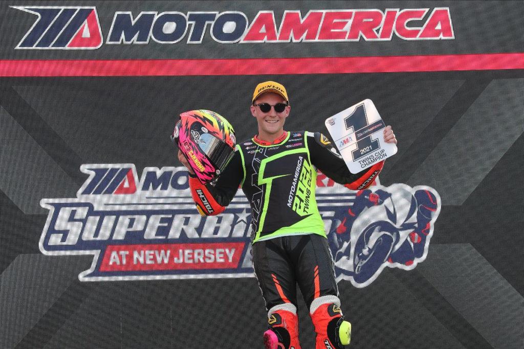 Kaleb De Keyrel, the 2021 MotoAmerica Twins Cup Champion. Photo by Brian J. Nelson, courtesy MotoAmerica.