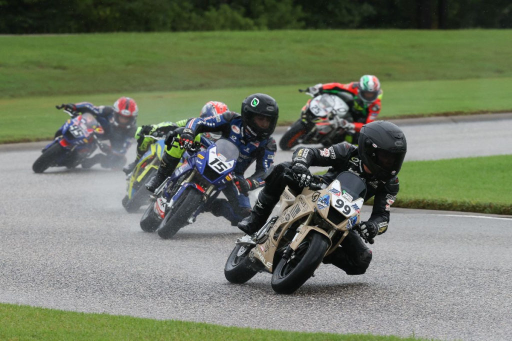 Jesse James Shedden (99) won three races in the Mini Cup by Motul on Saturday afternoon.  Photo by Brian J. Nelson, courtesy of MotoAmerica.