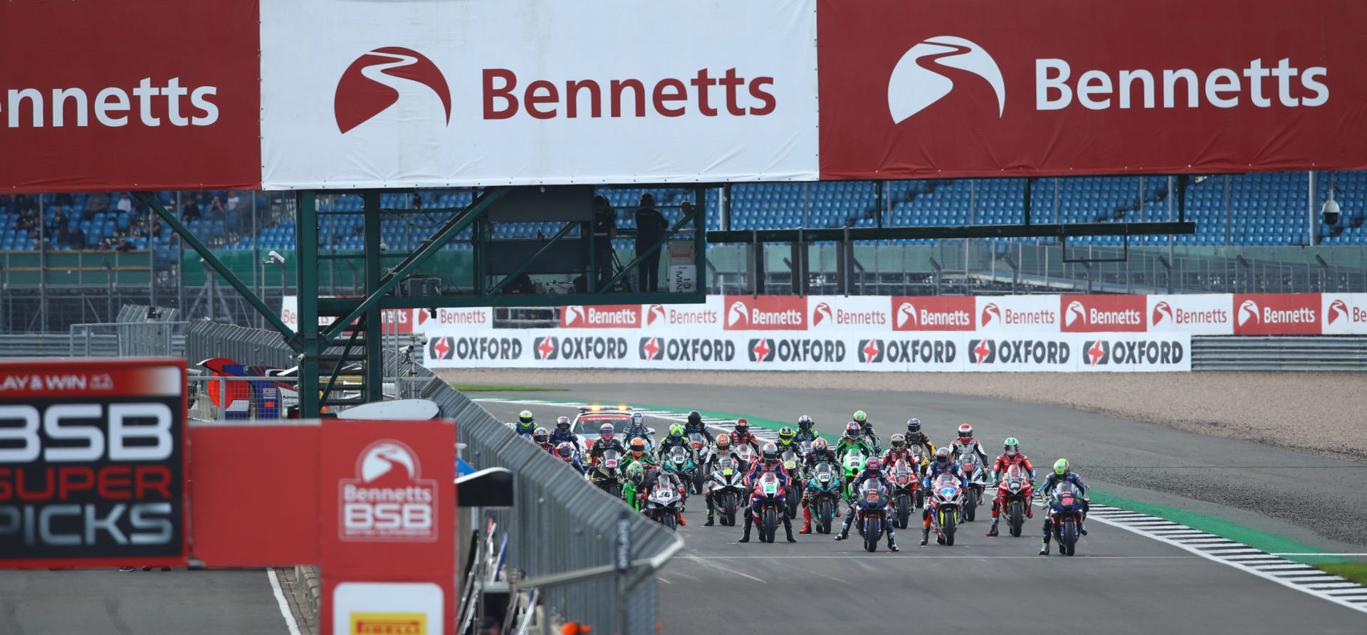 The British Superbike grid before the start of Race One at Silverstone. Photo courtesy MotorSport Vision Racing.