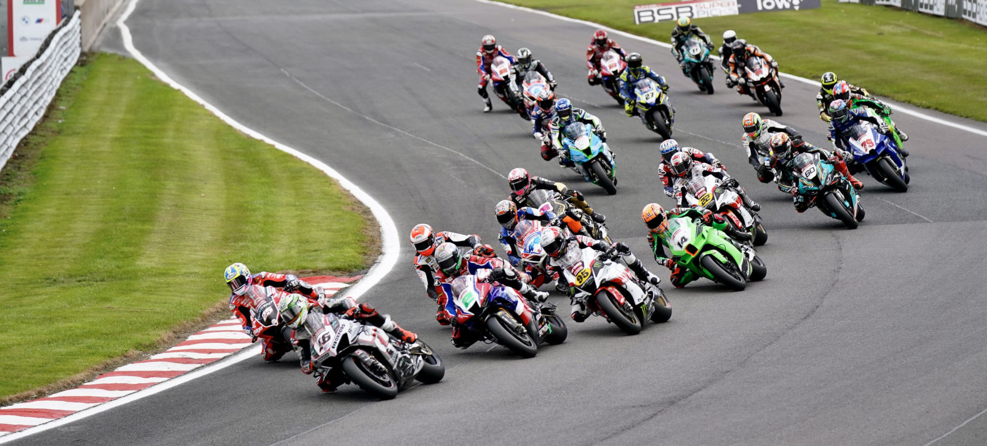 Tommy Bridewell (46) leads the start of a British Superbike race Sunday at Oulton Park. Photo courtesy MSVR.