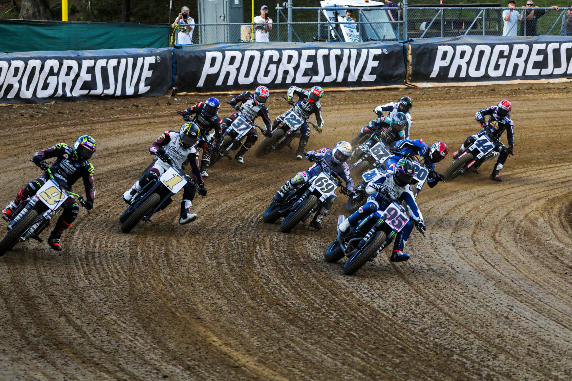 Jared Mees (9), Briar Bauman (1), Sammy Halbert (69), JD Beach (95) and the rest of the AFT SuperTwins field at the start of the main event at the Peoria TT. Photo by Scott Hunter, courtesy AFT.