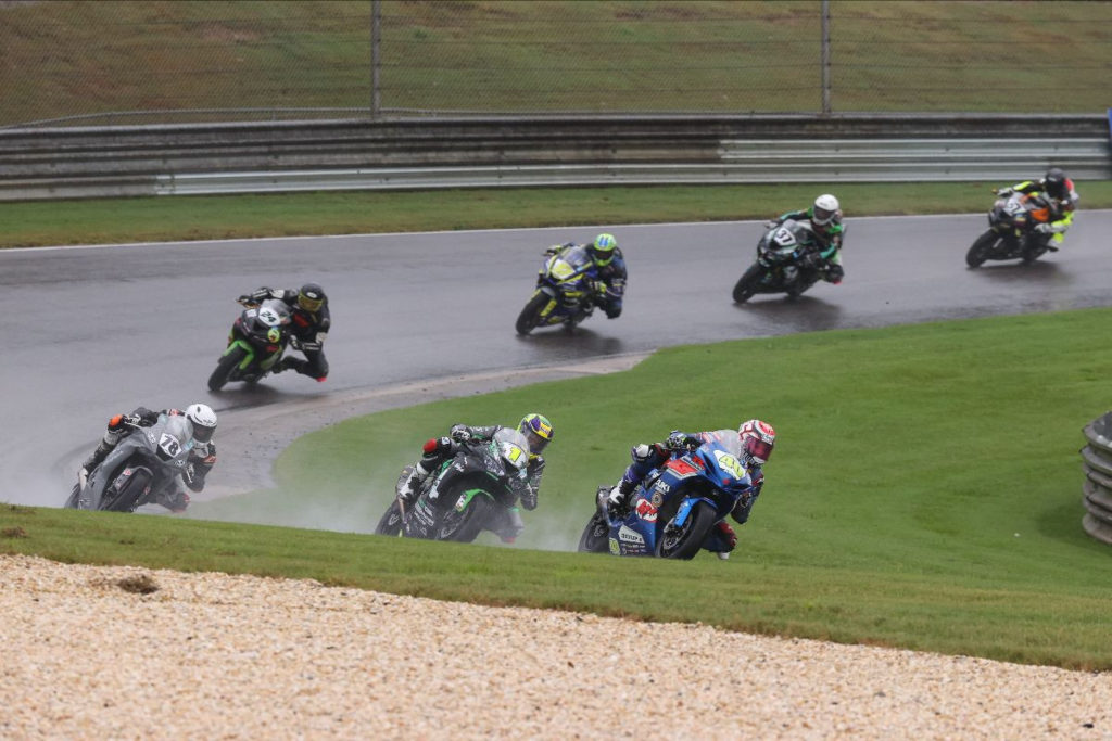 Sean Dylan Kelly (40) leads Richie Escalante (1) and Alejandro Thermiotis (78) in the Supersport race before the red flag stop of the race.  Kelly won the restarted race.  Photo by Brian J. Nelson, courtesy of MotoAmerica.