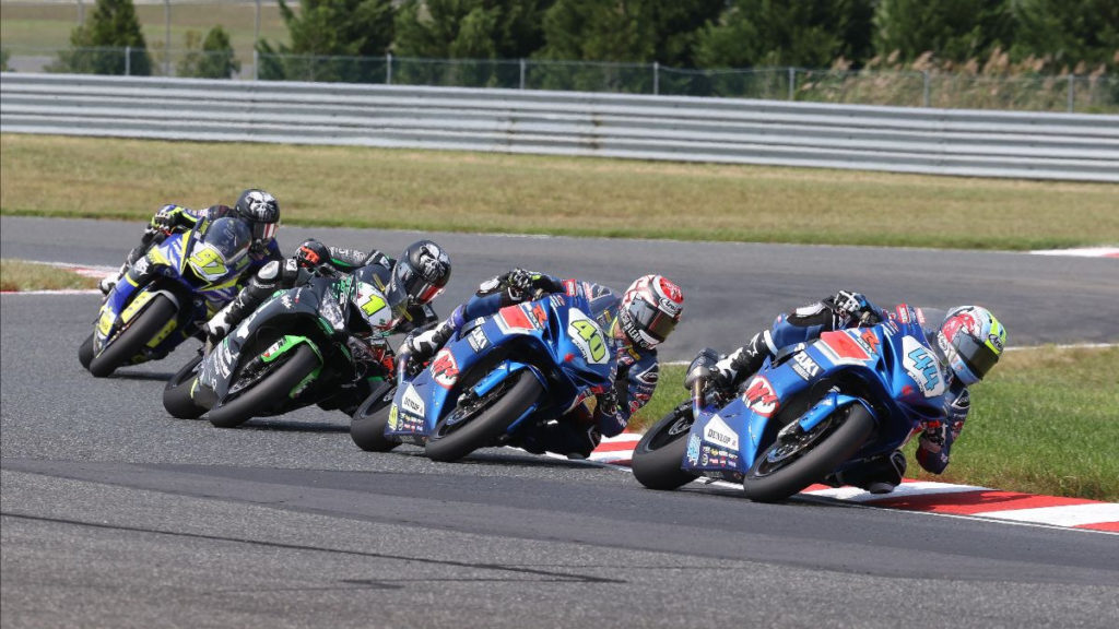 Sam Lochoff (44) leads Sean Dylan Kelly (40), Richie Escalante (1), and Rocco Landers (97) during Supersport Race Two at NJMP. Photo by Brian J. Nelson, courtesy MotoAmerica.
