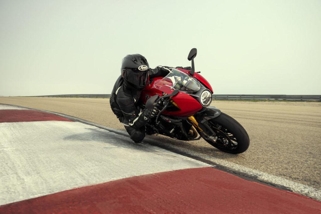 A 2022-model Triumph Speed Triple 1200 RR in action. Photo courtesy Triumph.