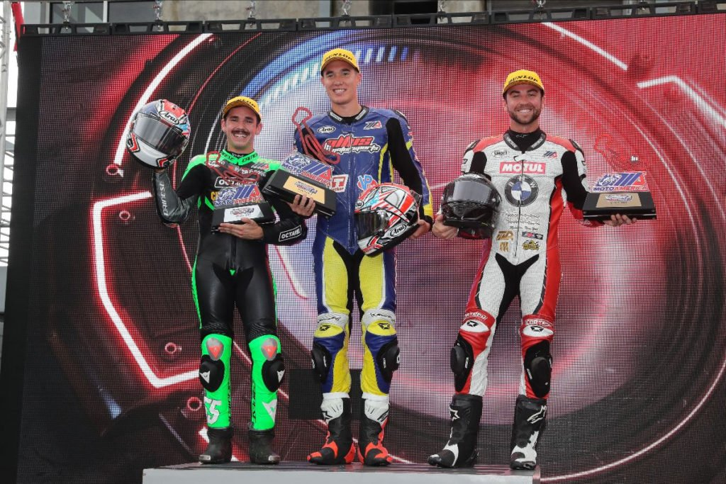 (Left to right) Michael Gilbert, Jake Lewis and Travis Wyman finished third, first and second respectively in the Stock 1000 race. Photo by Brian J. Nelson, courtesy of MotoAmerica.