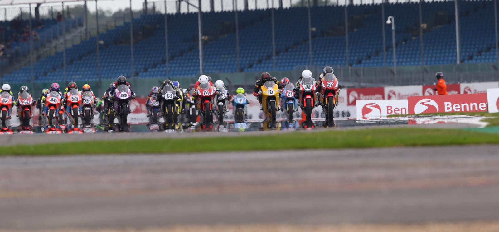 The start of British Talent Cup Race Two at Silverstone. Photo courtesy Dorna.