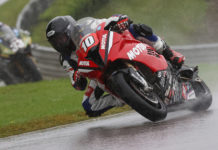Travis Wyman (10) during one of the wet MotoAmerica Superbike races at Barber Motorsports Park. Photo by Brian J Nelson, courtesy Travis Wyman Racing.