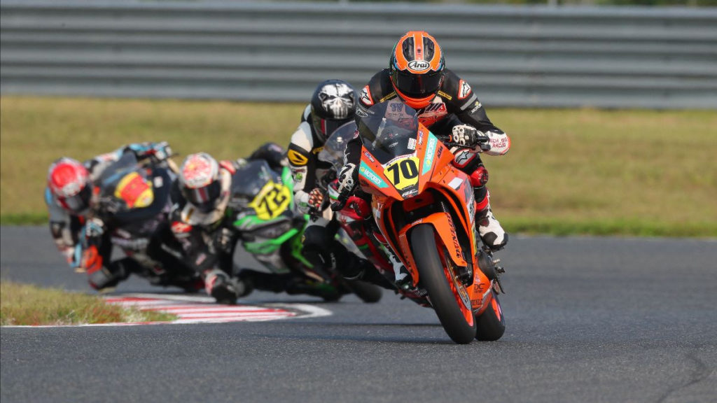 Tyler Scott (70) leads Junior Cup Race Two. Photo by Brian J. Nelson, courtesy MotoAmerica.