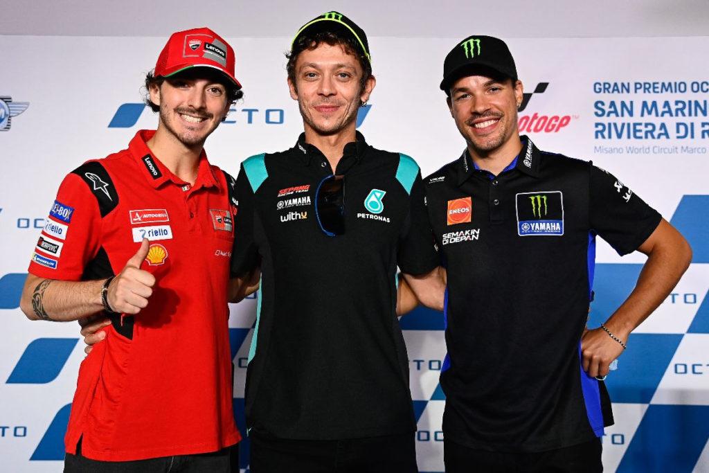 Valentino Rossi (center) with VR46 Academy graduates Francesco Bagnaia (left) and Franco Morbidelli (right). Photo courtesy Dorna.