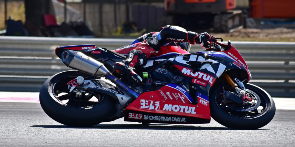 Aided by a Bridgestone qualifying tire to help fire onto the back straight, Suzuki Endurance Racing Team's GSX-R1000R touched 355 kph (220.587 mph) on the Mistral straight in qualifying, took pole and led early. Photo by Michael Gougis.
