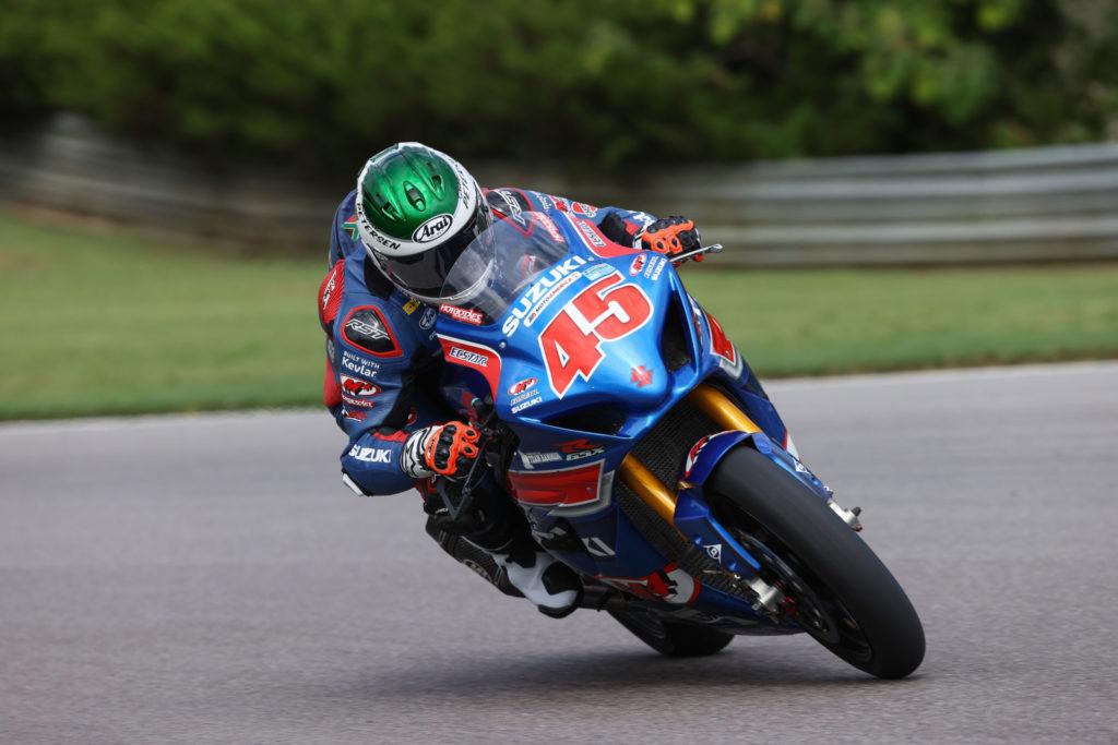 Cam Petersen (45) took his first MotoAmerica Superbike victory on his powerful Suzuki GSX-R1000R. Photo by Brian J. Nelson, courtesy Suzuki Motor USA, LLC.