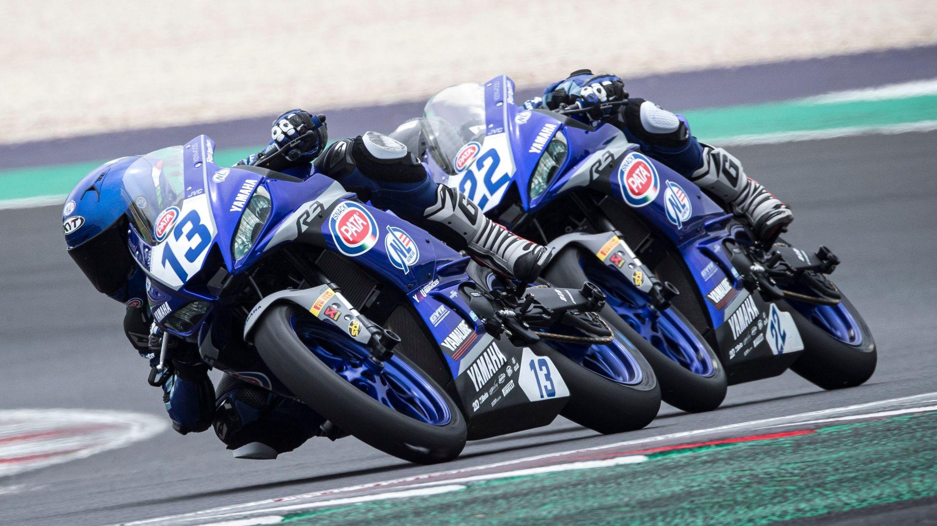 Edoardo Colombi (13) leading Michele Cuccu (22). Photo courtesy Yamaha.