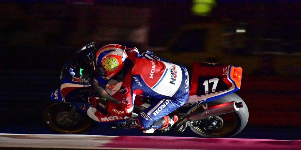 One of the support races over the weekend was the two-heat Bol d'Or Classic, which ran its first two-hour leg on Friday night and the second during the daylight hours on Saturday morning. The race featured historic endurance racebikes like this Honda RC30. Photo by Michael Gougis.