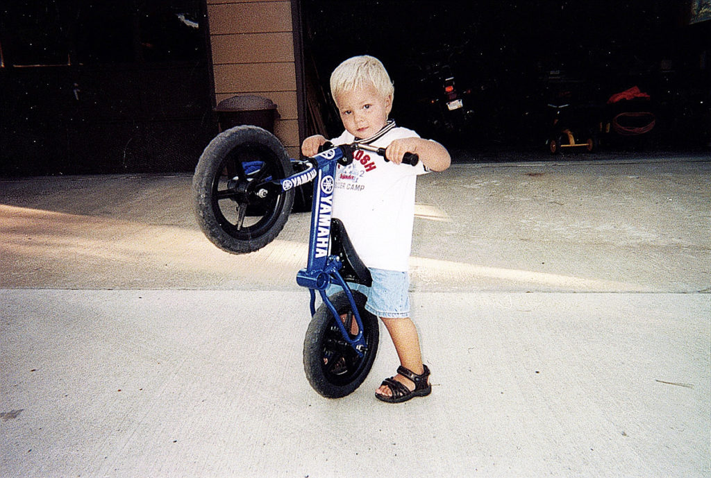 The Strider factory prototype in the hands of test rider Bode McFarland. Photo courtesy Strider.
