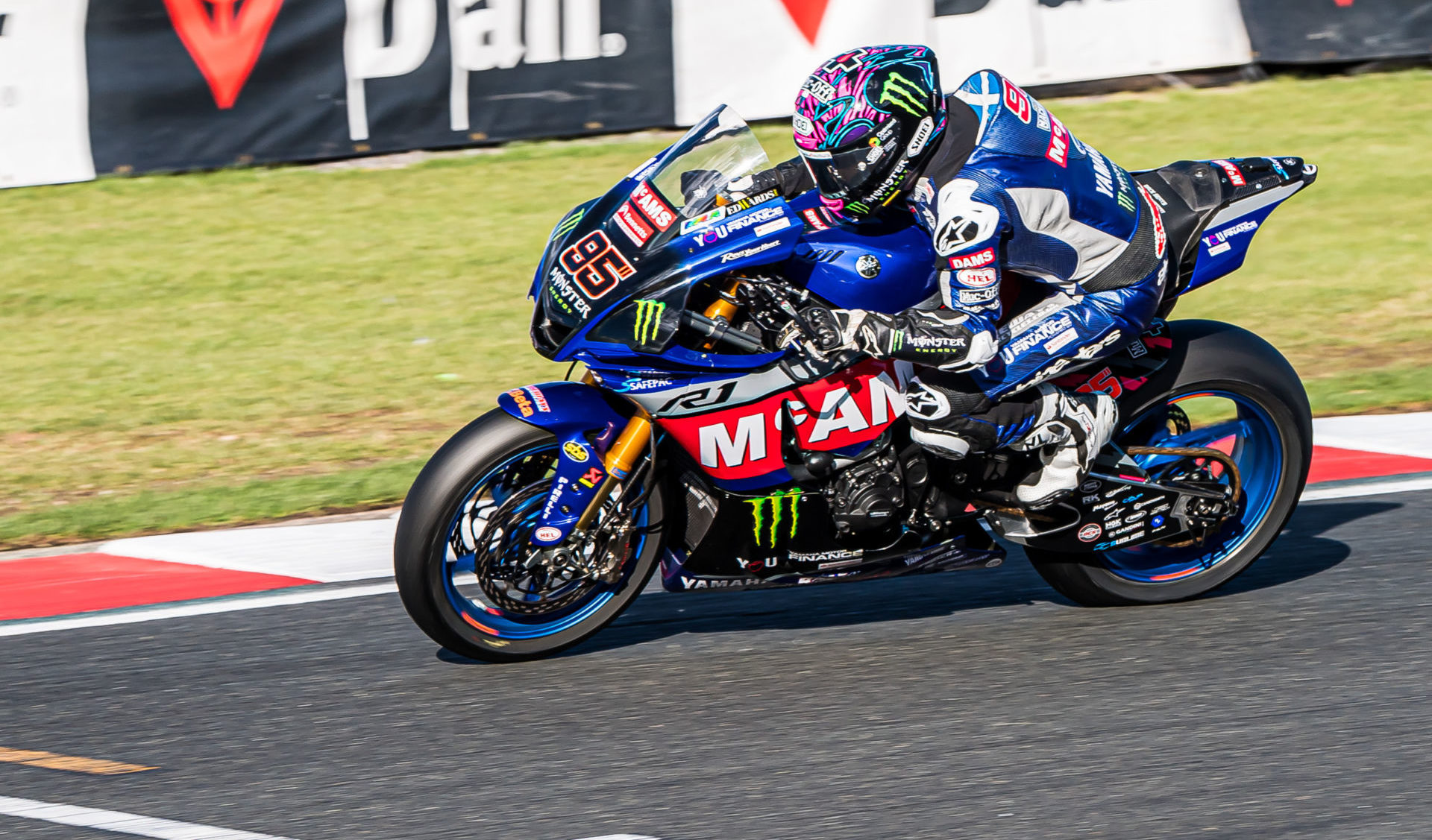 Tarran Mackenzie (95) was fastest in British Superbike practice Friday at Donington Park. Photo by Barry Clay.