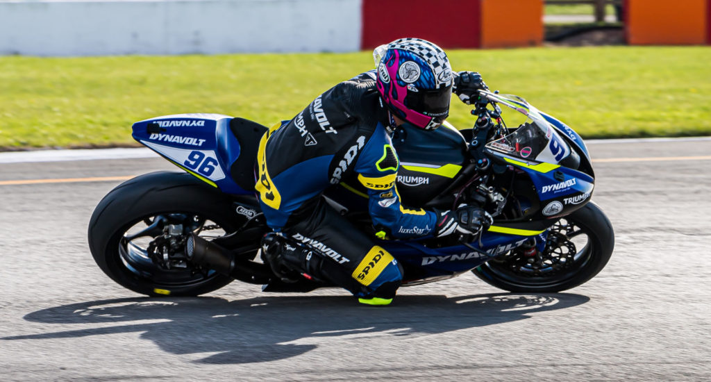 American Brandon Paasch (96) on his Triumph Street Triple RS 765cc machine during a British Supersport race at Donington Park. Photo by Barry Clay.