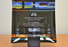 The award presented by ASRA/CCS to the Roadracing World Action Fund. Photo by David Swarts.