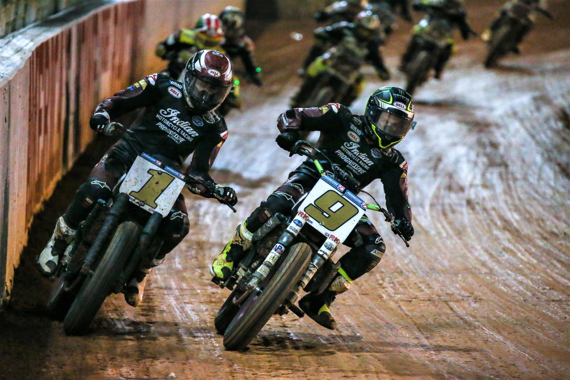 The 2021 AFT Mission SuperTwins Championship will be decided between Briar Bauman (1) and Jared Mees (9) Friday, October 8 at the Charlotte Half-Mile. Photo by Scott Hunter, courtesy AFT.