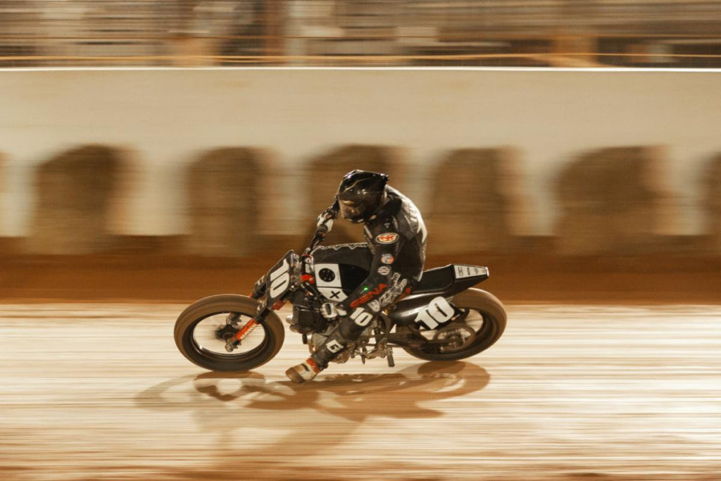 Johnny Lewis (10) at the Charlotte Half-Mile. Photo courtesy Royal Enfield North America.