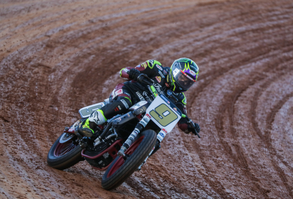 Jared Mees (9) in action. Photo courtesy Indian Motorcycle.
