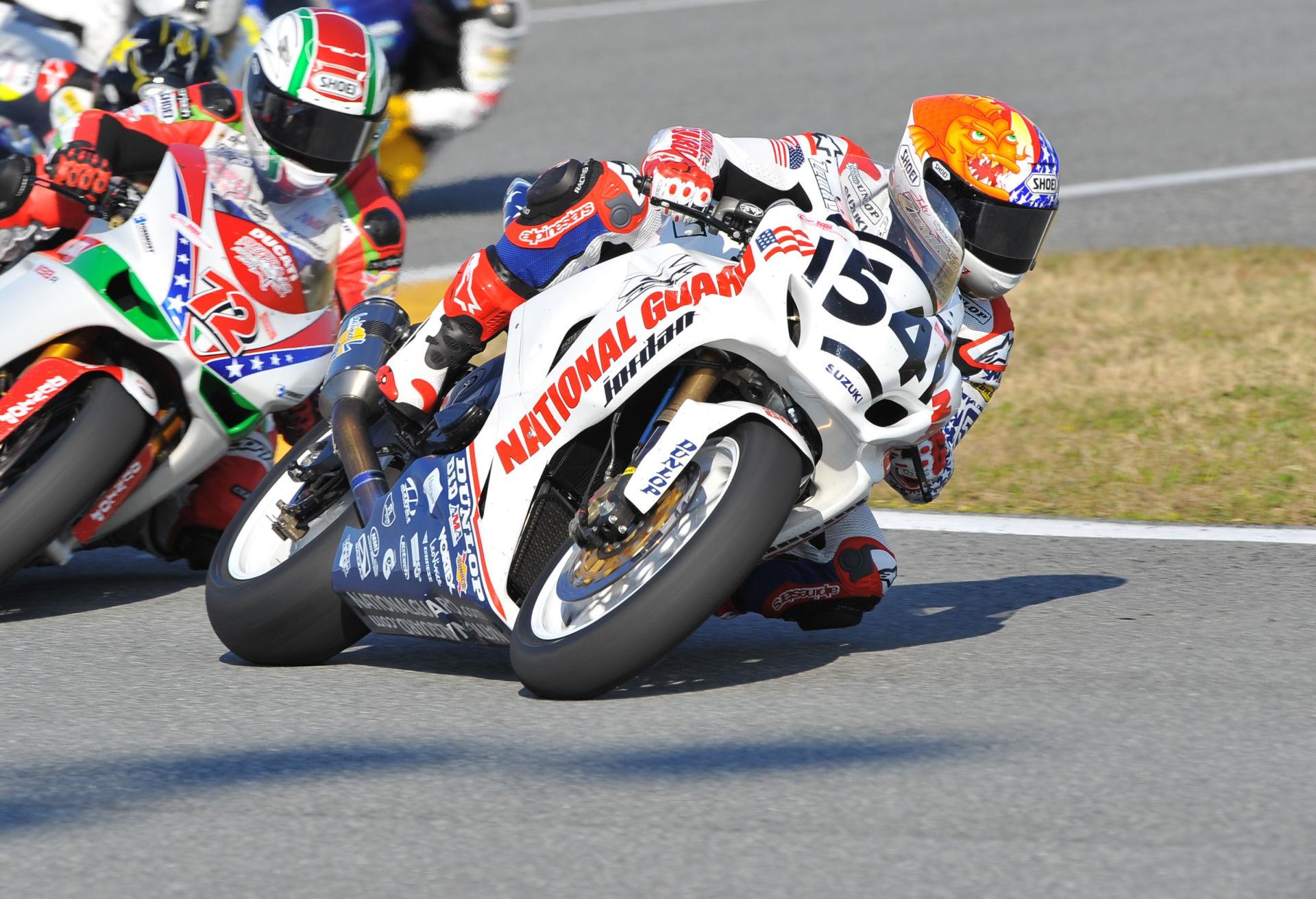 Jake Zemke (54), riding a Suzuki GSX-R1000, also won both AMA Superbike races at Daytona International Speedway in 2010. Photo by Nelson & Riles.