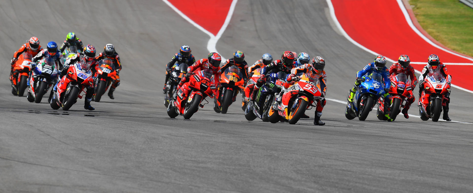 The start of the MotoGP race at COTA. Photo courtesy Michelin.