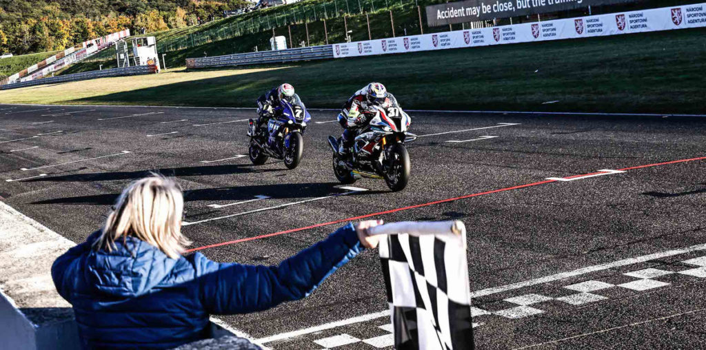 BMW Motorrad World Endurance Team (37) beat YART Yamaha Official EWC Team (7) by 0.070 second to win the 6 Hours of Most. Photo courtesy Eurosport Events.
