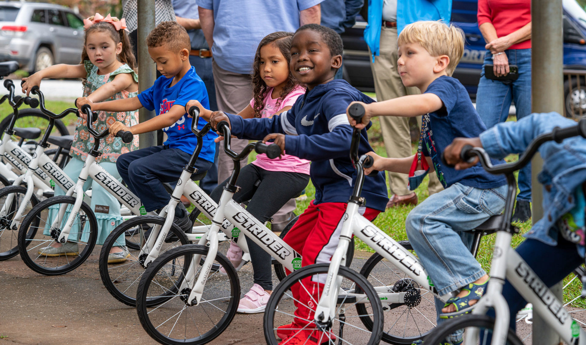 Kindergarteners in Georgia tryout Strider bikes provided by the All Kids Bike initiative, courtesy Yamaha Motor Corp., U.S.A. Photo courtesy Yamaha Motor Corp., U.S.A.