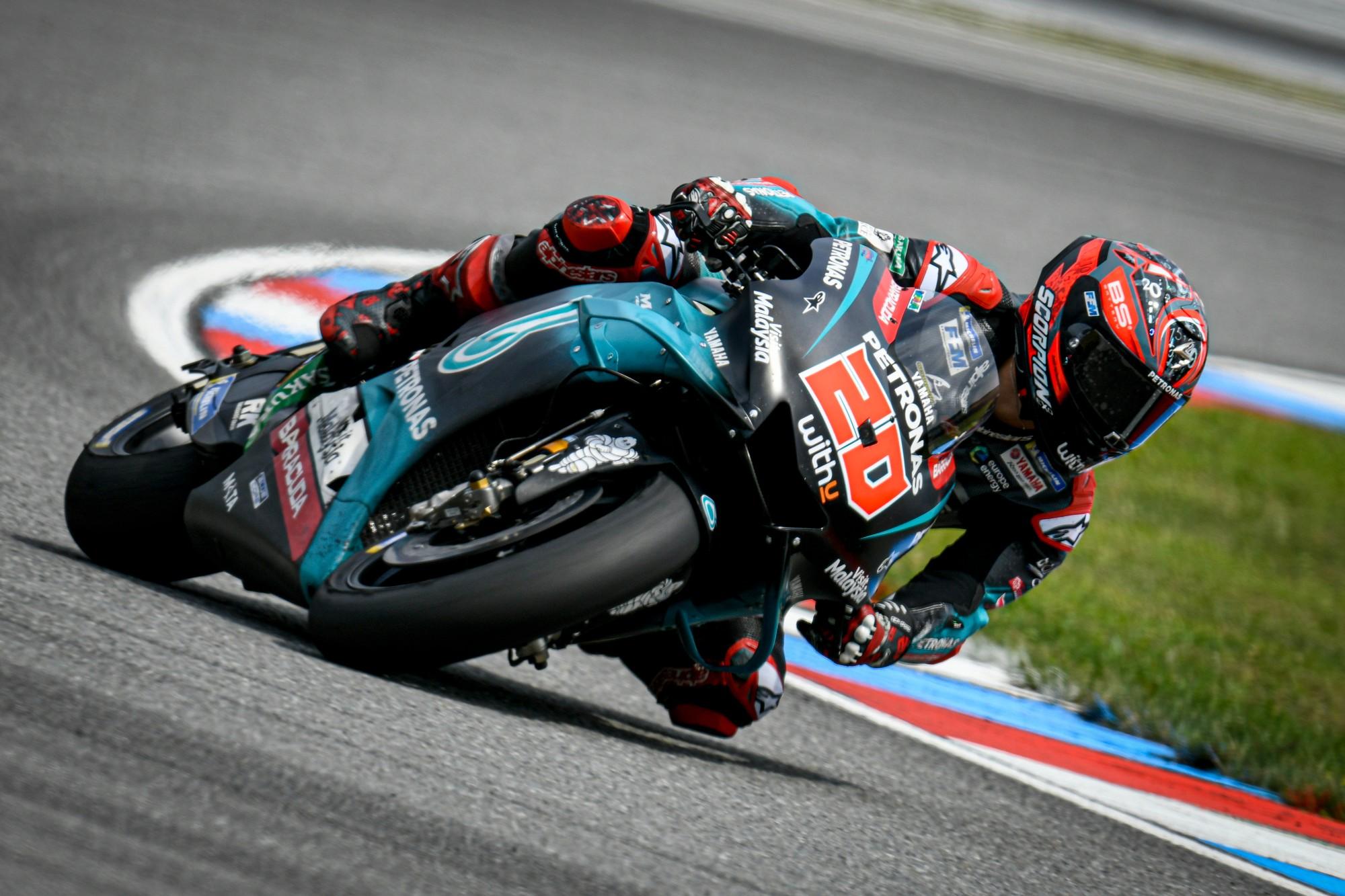 Motogp Fabio Quartararo Fastest New Yamahas Break Cover During Testing Monday At Brno Roadracing World Magazine Motorcycle Riding Racing Tech News